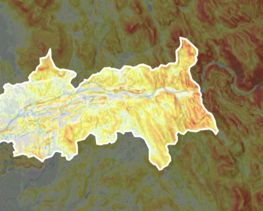 Screenshot of an outlined watershed in Model My Watershed.